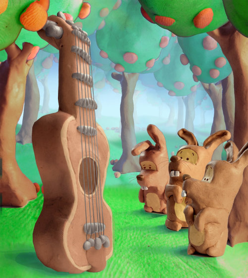 Character design of wooden rabbits