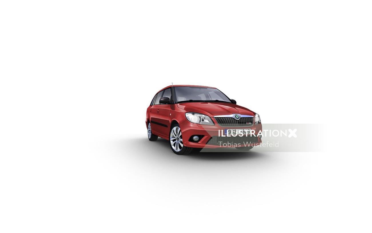 Photorealistic illustration of mini socda car