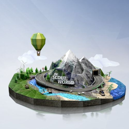 Scout world 3d illustration