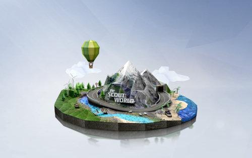 Illustration 3d du monde scout