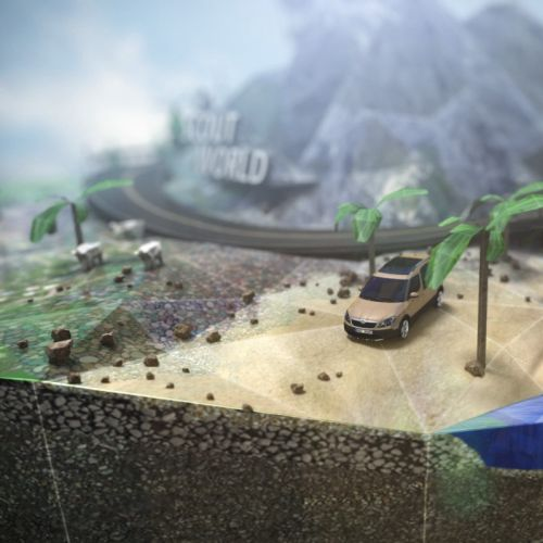 Nature illustration of driving on beach