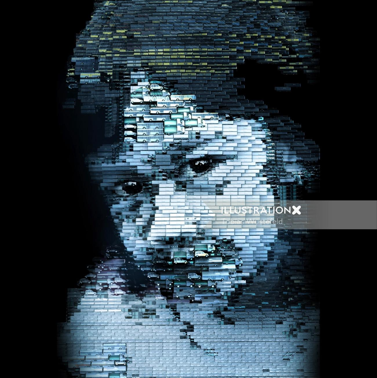 Portrait illustration of small girl