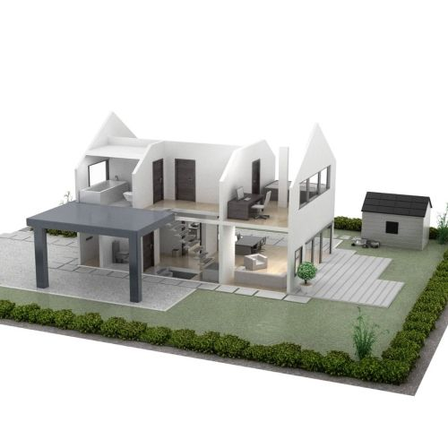 Architecture illustration of scale model house