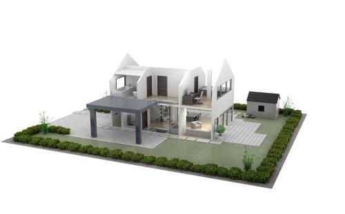 Illustration de l'architecture de la maison modèle réduit