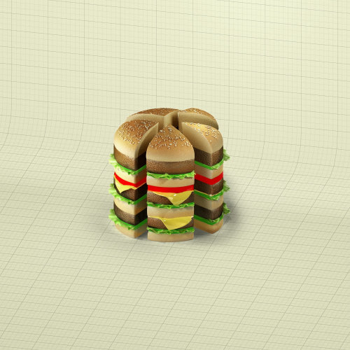 3d illustration of burger