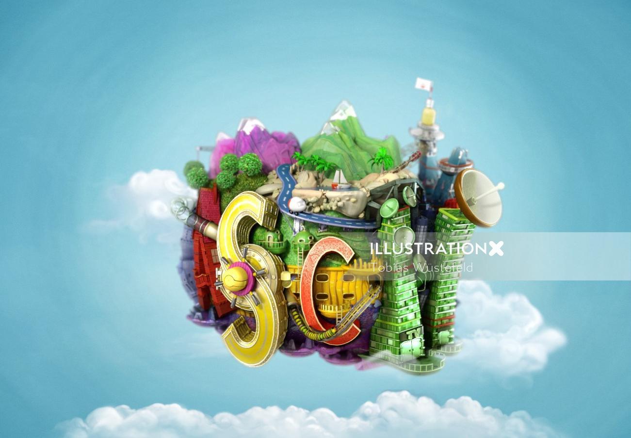 Sc lettering illustration
