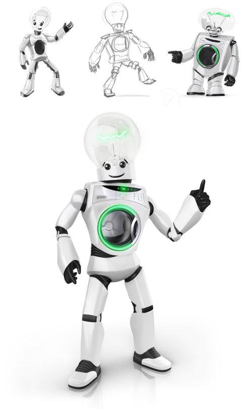 Ilustración de diseño de personaje de robot