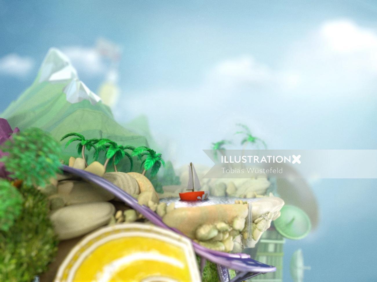 3d illustration of resort