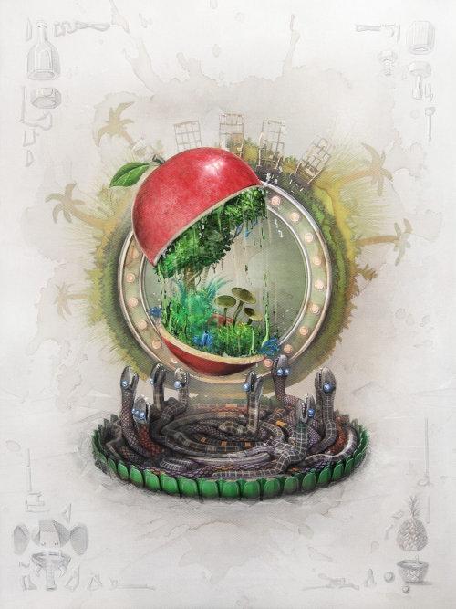 3D illustration of apple forest