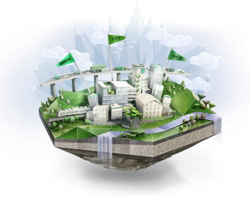 3D illustration of sky city