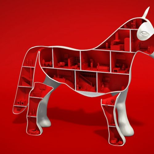 3D illustration of toy horse