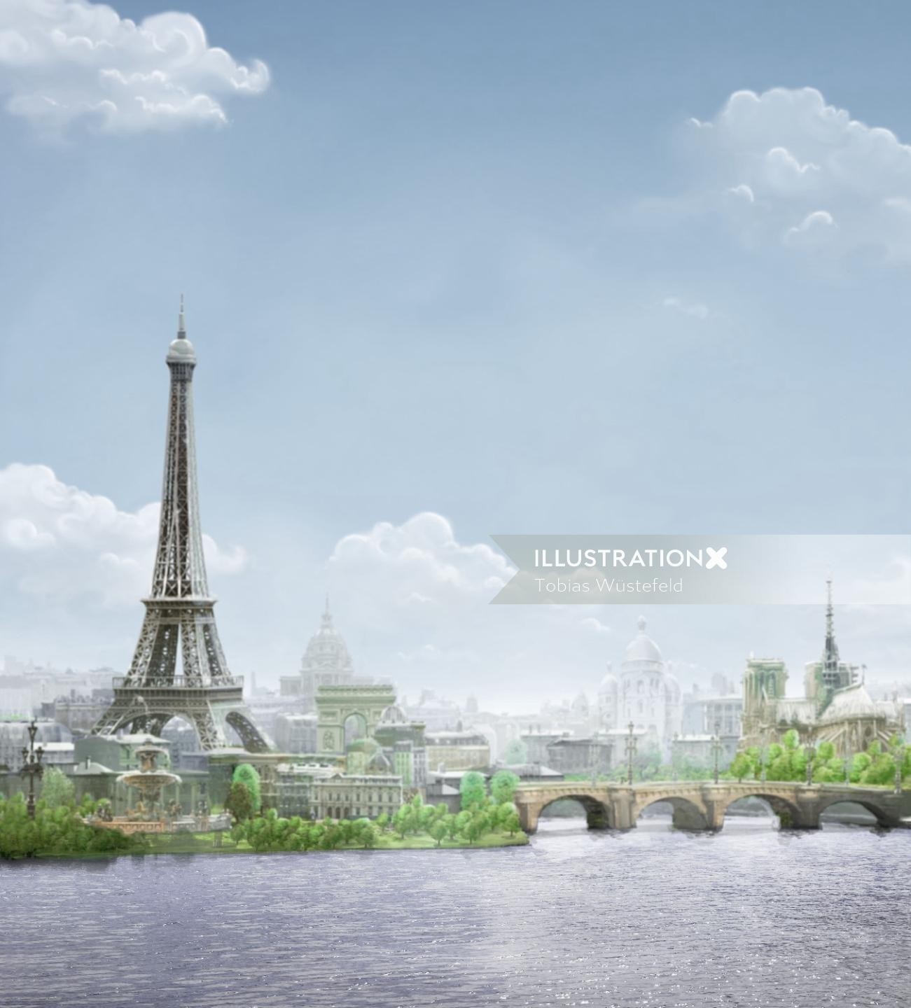 3d illustration of Eiffile tower