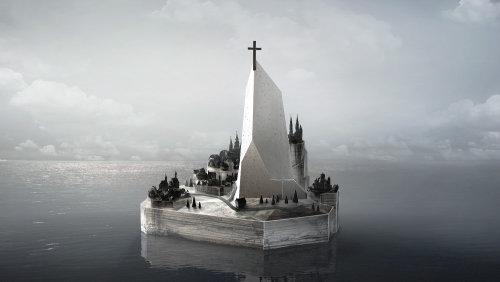 Illustration CGI de l'île fantôme