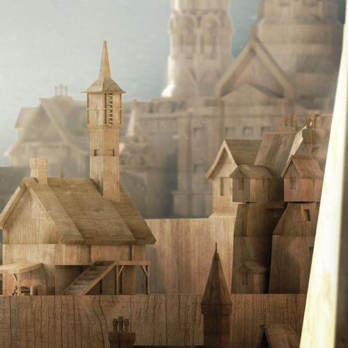 3d illustration of wooden city
