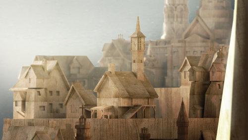 3d illustration of wooden city
