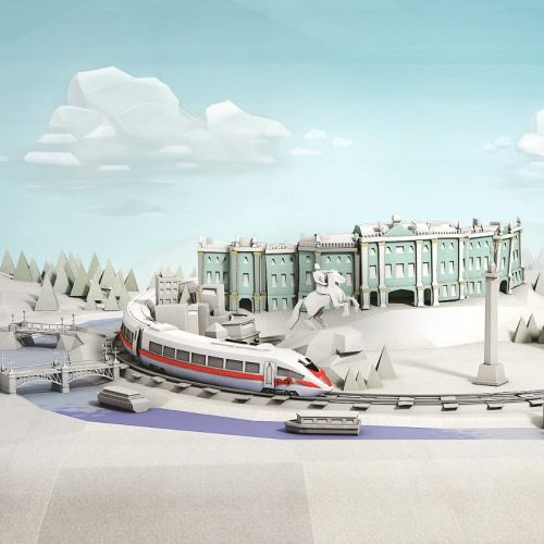 CNN railways 3d illustration