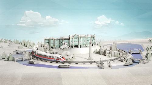 CNN railways 3d illustration