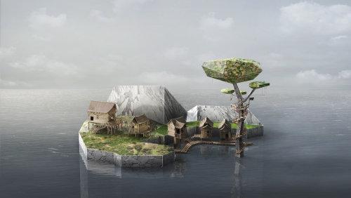 Cgi illustration of island house
