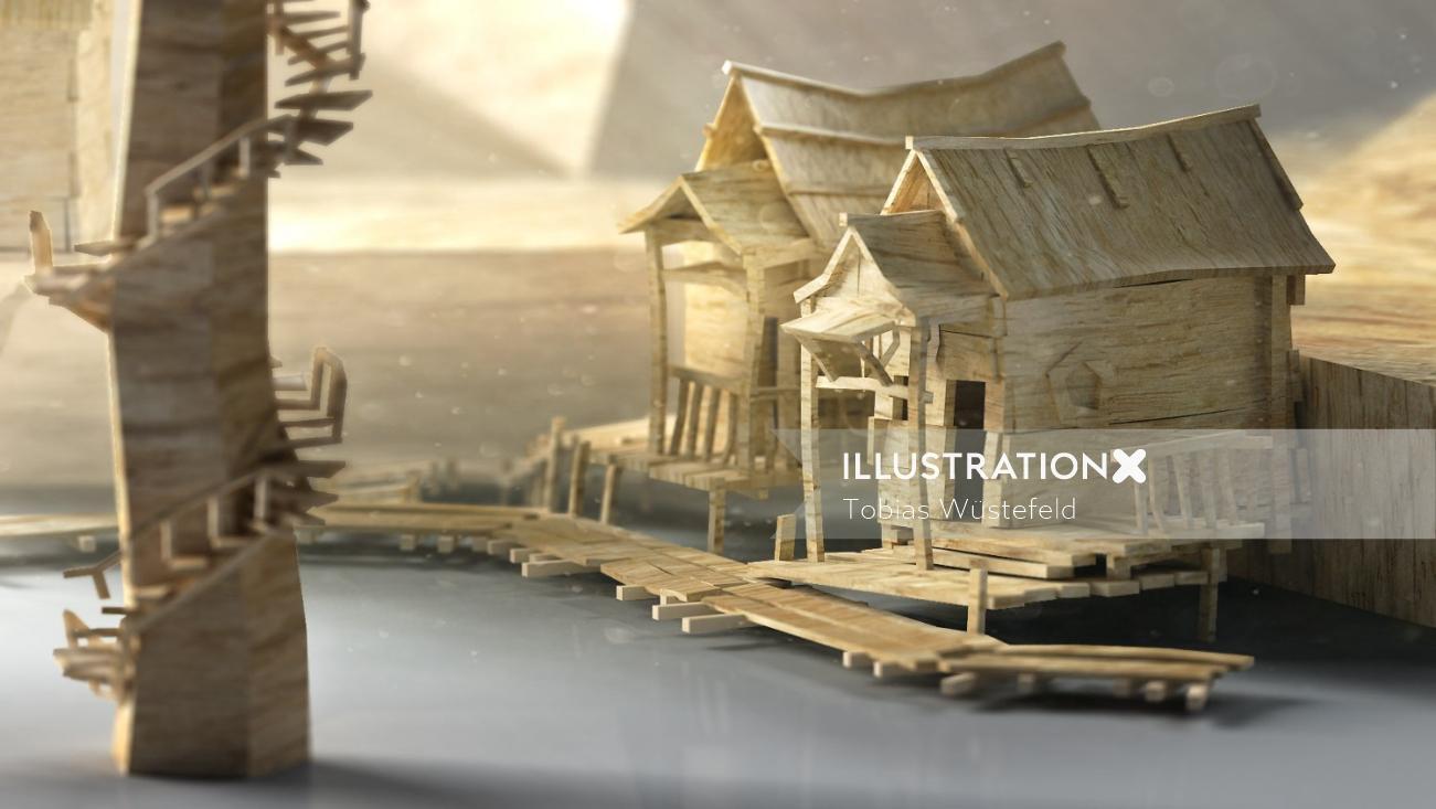Miniature Houses Illustration