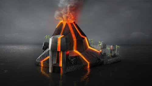 3d illustration of Volcano