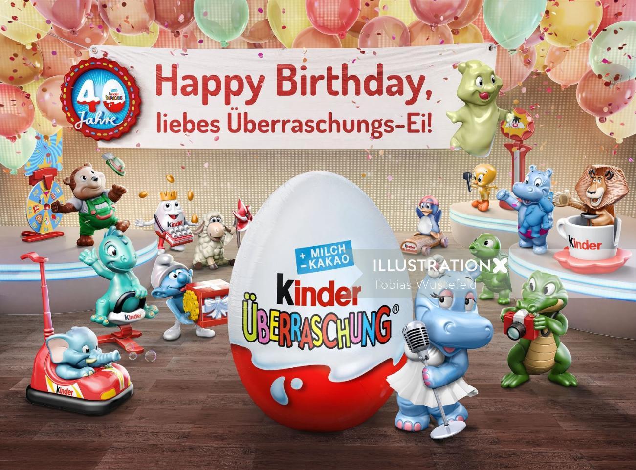 Illustration of happy birthday  Kinder Chocolate
