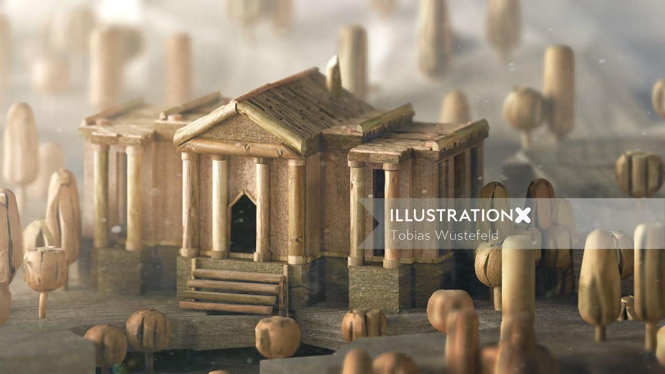 3d illustration of Wooden house