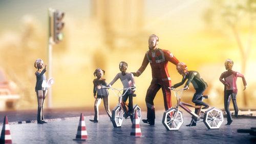 Illustration 3D du cyclisme pour projet main helfende