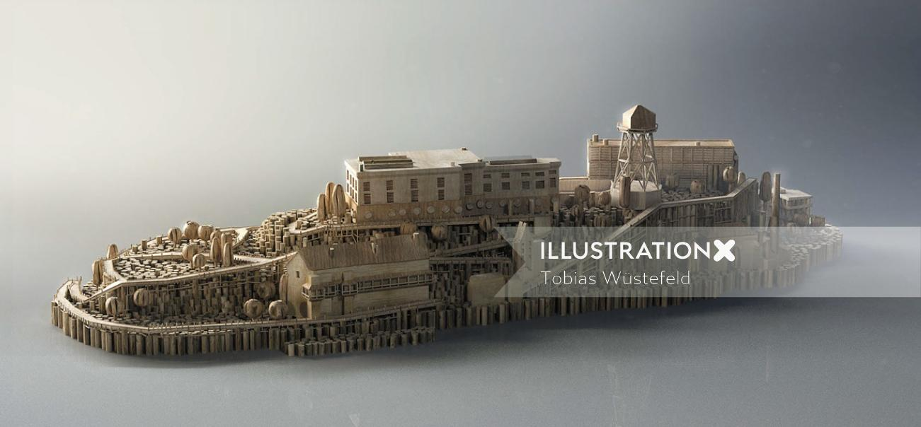 Museum architecture illustration