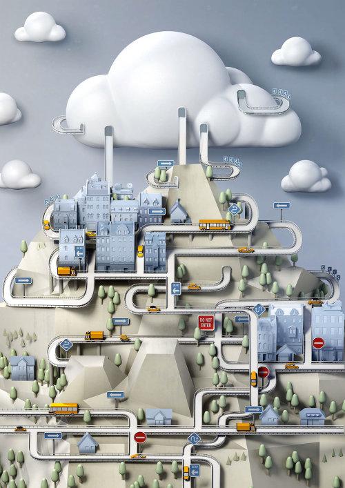 IBM cloud technical Illustration