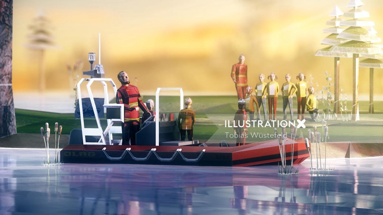 Cgi illustration of boating