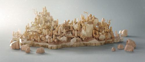 Illustration de l'architecture du village de la colline
