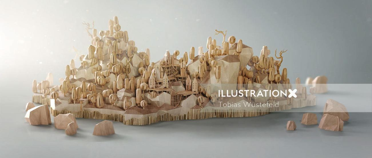 Architecture illustration of hill village