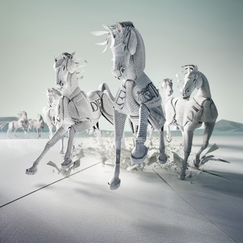 Paper art of racing horses