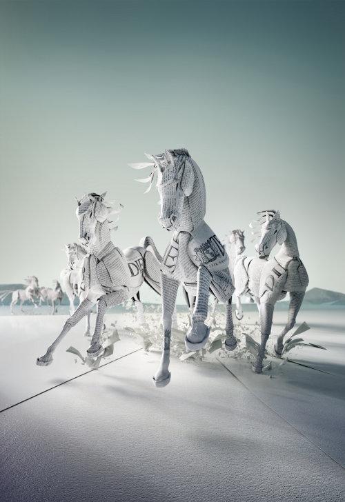 Paper art of racing horses