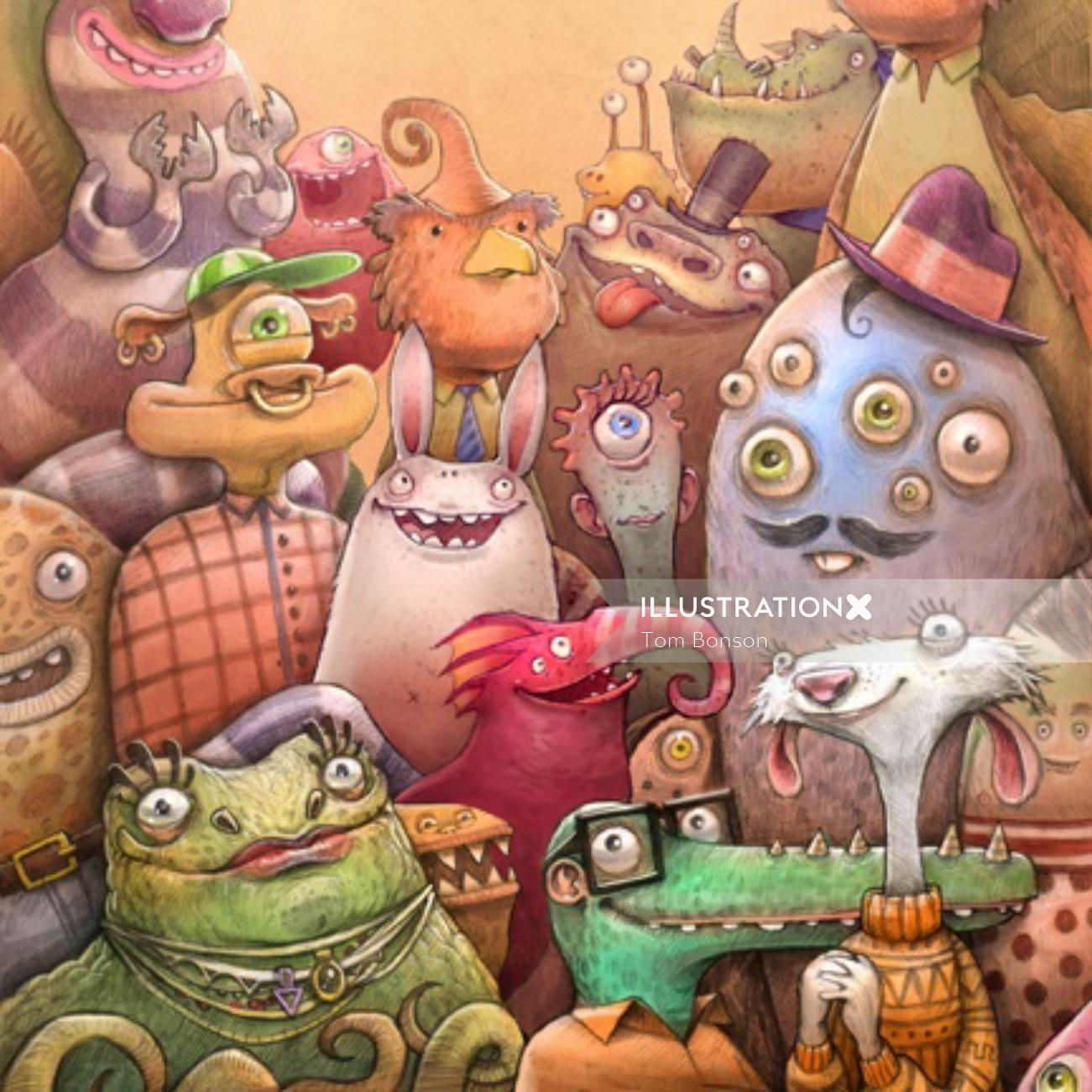 Monster Crowd character design
