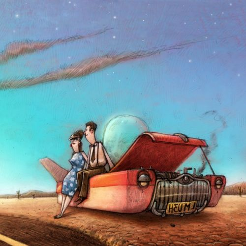 An Illustration Of Car Breakdowns At Desert