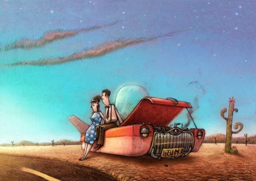 Una ilustración de averías de automóviles en el desierto