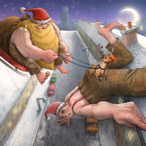 Illustration Of Bad Santa and the Boy