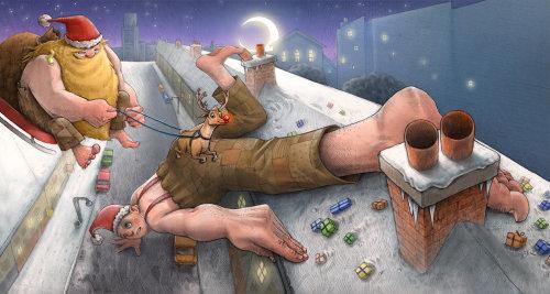 Ilustración de Bad Santa y el niño