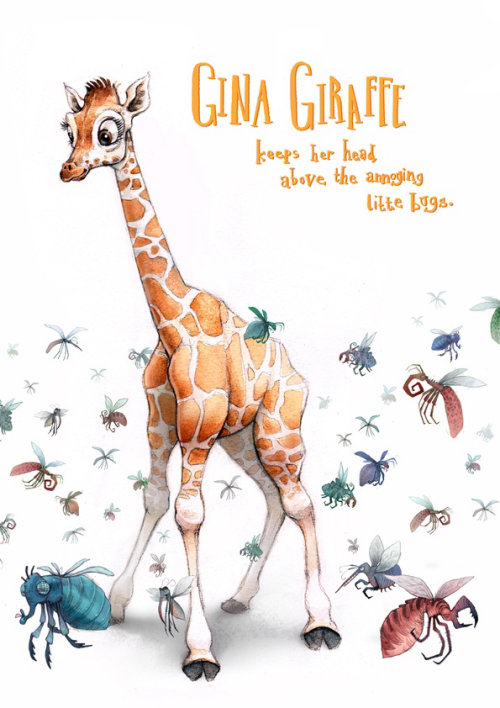 Water Color Drawing of Gina Giraffe and Bugs