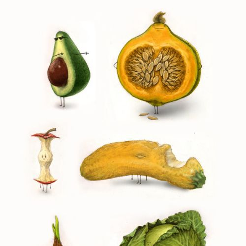 Rotten Fruits Illustrated as Human Being