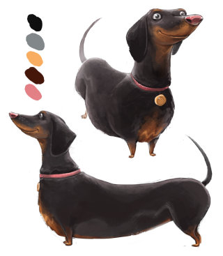 Character Illustration Of Dachshunds