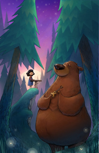 Little Girl and The Bear Playing Music
