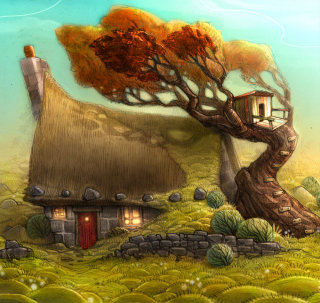 An Illustration of Cottage and Tree House