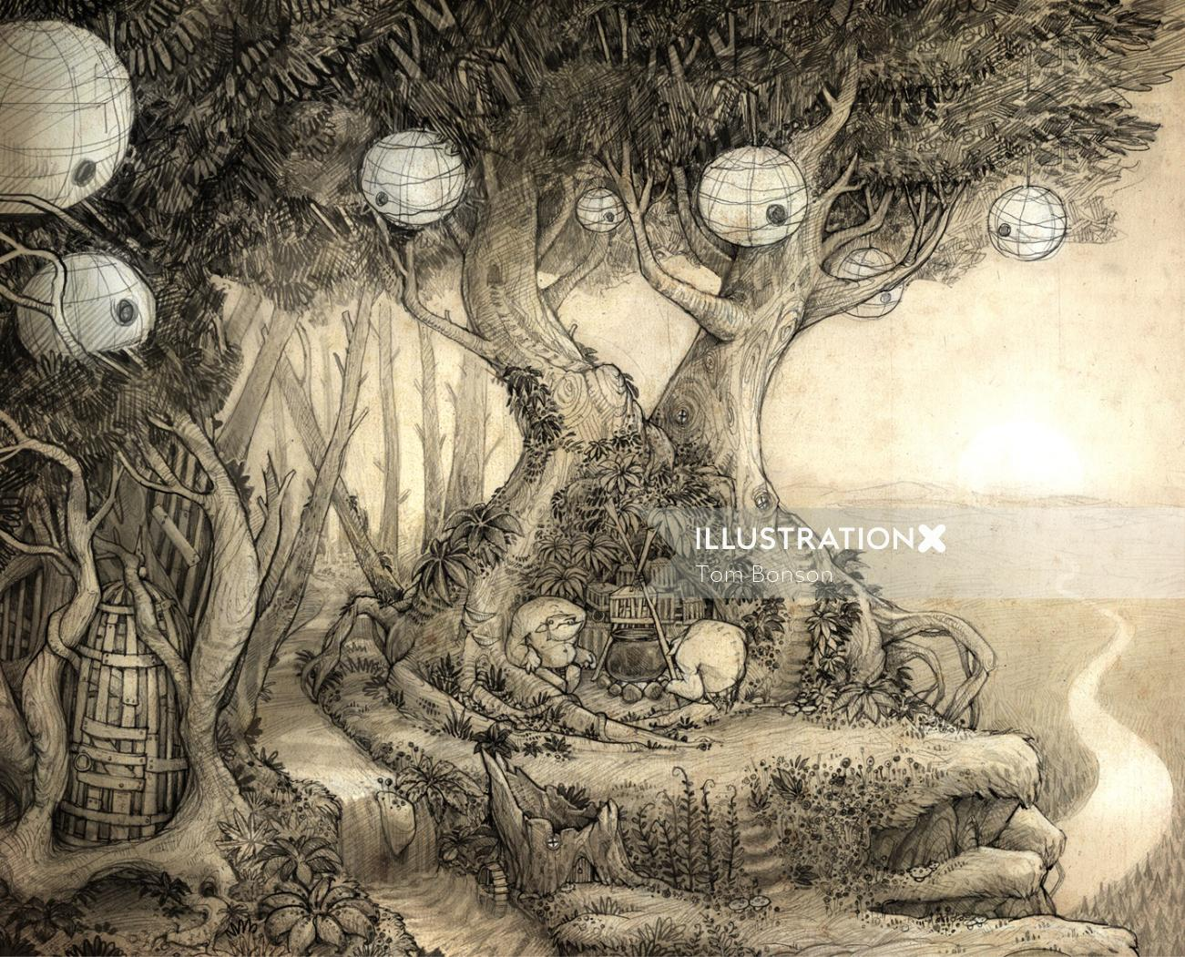 Troll Den Drawing By Tom Bonson