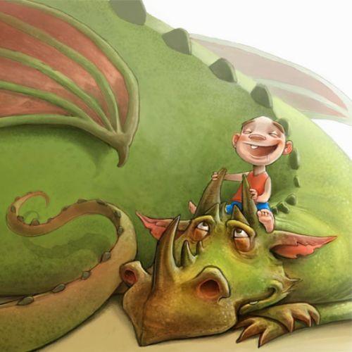 Children boy playing on a dragon