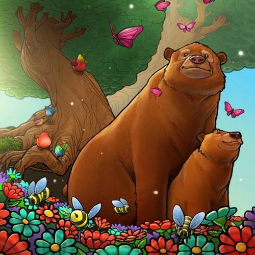 Children bears in jungle