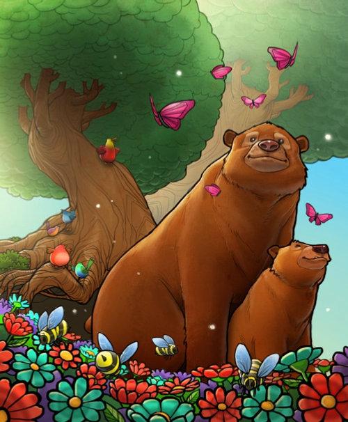 Enfants ours dans la jungle
