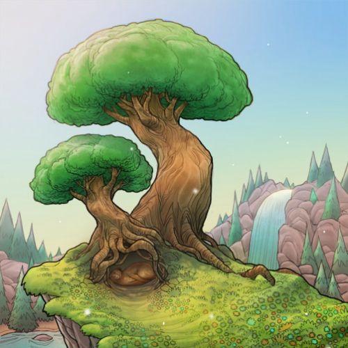 Children fantasy design of tree in nature