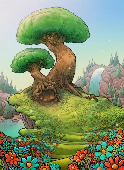 Conception de fantaisie d'enfants d'arbre dans la nature
